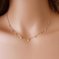 Nouveau strass bijoux cercle court collier mode tendance à la main chain à la main Chaîne de cou de cou de roue-à-soleil Cadeau pour femme Girl Gold Argent Couleur