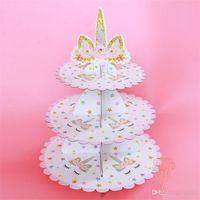 30 * 35 cm schattige eenhoorn dessertrek drie lagen papier roze kleur gedrukt bruidstaart staat feestdecoratie 8 9WE1