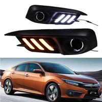 Carro piscando para Honda Civic 10th 2016 2017 2018 LED Drl Daytime Running Light Nevoeiro Lâmpada Bumper Bumper Light Light Light