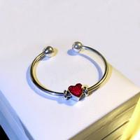 Pulsera de brazos de boda de las mujeres Charms de corazones rojos DIY Pulsera para Pandora Real Sterling Silver Braceelts abiertos con conjunto de caja original