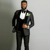 Özel Siyah Erkek Düğün Smokin Damat Suits Kadife Şal Yaka Adam Blazer Balo Parti 3 Adet Groomsmen Ceket Son Designterno Masculino