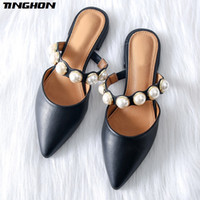 TINGHON Women Pearl Flats Shoes for Women Pointed Toe Elegan...
