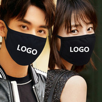 شعار 10PCS مخصص الفم قناع أسود الصلبة طباعة KAWAII تغطية الوجه نصف أزياء لطيف دافئ تنفس أقنعة القطن صامد للريح مكافحة الغبار