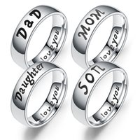 Stainless Steel I Love you Ring I love You Dad Mom Son Daugh...