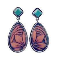 Pendiente étnico Boho Drop Dangle Vintage Turquesas Colgante de piedra Pendiente largo para mujeres Regalos Bijoux Femme Pendientes Turquesas