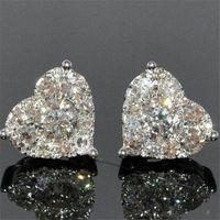 Coração de jóias de luxo real 925 Sterling Prata Girl Pear Cut branco Topaz CZ diamante simples Belas Partido Mulheres presente de casamento Brinco Stud