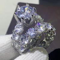 2020 Nouvelle arrivée Bijoux Vintage unique 925 Sterling Silver Couple Couple Anneaux Rond Topaz Cz Diamond Femmes Mariage Bague de mariée Ensemble cadeau