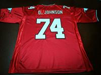 Benutzerdefinierte Männer Jugend Frauen Jahrgang Calgary Stampeders # 74 Dwayne Johnson Fußball-Jersey-Größe s-4XL oder benutzerdefinierten beliebigen Namen oder Nummer Jersey