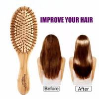 جودة عالية الشعر مشط الخيزران وسادة هوائية للتدليك مشط متفحمة الصلبة الخشب الخيزران وسادة مكافحة ساكنة فرشاة الشعر كومز سفر المنزل