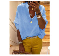 V Neck Womens Blouses Solid Color Long Sleeve Loose Casual W...