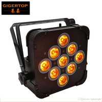 Freeshipping TP-G3039 9x15W RGBWA 5IN1 Wireless-flache LED-Gleichheits-Licht Schwarz Gehäuse Malerei Doppelventilator Kühl 5/9 DMX-Kanäle Verdichtet Größe