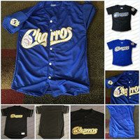 Charros de Jalisco Black Blue 100% Dikişli Boş Beyzbol Forması