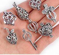 Lega del pendente del Locket Cage perla di figura 8pcs argento antico chiave del cuore di amore per gli accessori la collana DIY Olio Essenziale-diffusore