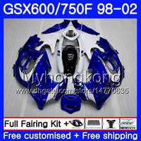 Lichaam voor Suzuki Katana GSXF 600 750 GSXF750 98 99 00 01 02 292HM.10 GSX 750F 600F GSXF600 1998 1999 2000 2001 2002 voorraad blauw witte kuip