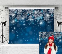 Rêve 7x5ft Blue Christmas Phototography Backdrop Fantaisie Bokeh Snowflakes blanc fond photo pour Noël Holiday Party Shoot Studio Prop