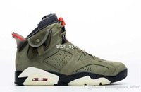 2019 Travis Scott x Air jordan 6 Top Qualität Travis Scott x Air 6 Herren Basketball Schuhe Medium Olive 6s Designer Turnschuhe CN1084-200 Größe Eur40-46