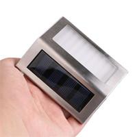 Toptan Paslanmaz Çelik 3 LED Güneş Enerjisi Işık Sensörü Duvar Işık Bahçe Adım Merdiven Güverte Işıkları Su Geçirmez Kare Açık Avlu Lamba