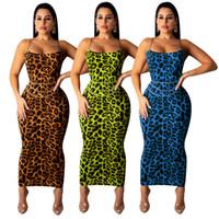 Sexy leopardenmuster spaghetti figurbetontes kleid für nachtclub bar party ärmellos rückenfrei knöchellangen dame mantel kleider sommer keine schärpe
