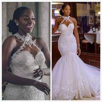 Vestidos de novia 2020 Árabe Aso Ebi Vintage encaje de cuentas Sheer sirena del cuello de los vestidos de novia barato atractivo vestidos de boda ZJ261