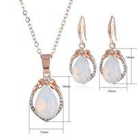 Opal Collier Boucles d'oreilles Parures or rose Couleur pierre naturelle Goutte d'eau Collier boucles d'oreilles femmes Bijoux Déclaration Boho