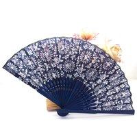 Folding Fan donne ventilatore ventilatori di stile cinese Turismo Souvenir Orchid legno a mano pizzo Spanish Dance regalo Abanicos Oggettistica per la casa