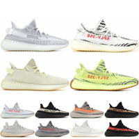 2019 Kanye V2 Static Running Shoes Cream White Zebra Semi Frozen Yellow Jogging Shoes Hombre Mujer Zapatillas de deporte West West 36-46