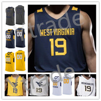 Custom West Virginia Alneuers 2020 Basketball N'importe quel nom Numéro 44 Jerry West 5 Mccabe 2 Brandon Knapper Oscar Tshiebwe WVU College Jersey