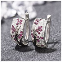 2019 New Plum Blossom Cluster Crystal Zircon Stud Earrings f...