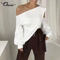 S-5XL Celmia Kadınlar Yaz Bluzlar Artı boyutu Bayanlar Katı Soğuk Omuz Tunik Şık Uzun Kollu Gömlek Casual blusas Mujer Tops
