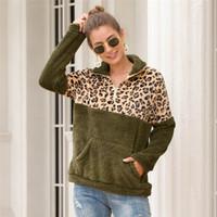 Luxus-Frauen Leopard Hoodies Art und Weise lose Pullover Designer Frauen Patchwork Tops