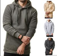 Bant Tasarımcısı Şık Erkek Draped Katı Kapüşonlu Spor Hoodie Sonbahar Bahar Erkek Rahat Gevşek Tişörtü Tasarımcı