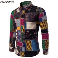 LIVRE OSTRICH Folk-custom Camisas para Homens Lã Vintage Lazer Padrão camisa Ocasional Plus Size Streetwear Chemise Homme flanela