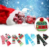 크리스마스 비니 모자 스카프 세트 니트 깜박이는 스카프 키트 캡 눈송이 엘크 순록 크리스마스 트리 파티 소품 XD21178
