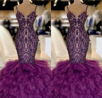 Purple Mermaid Long Prom Dresses 2019 Lace Appliques Layered...