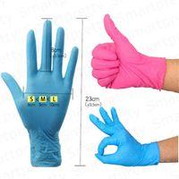 100pcs / Box Einweghandschuhe Lebensmittelgrade Schutzhandschuhe Küchenbraten Backenhandschuhe Nitril Latex Einweg Vinylhandschuh Schwarz Blau E33103