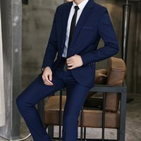 4-color Male Blazers and Suit Trousers Pure Color Men Sets