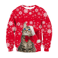 축제 크리스마스 셔츠 남성 여성 3D 고양이 개 후드 재미 인쇄 메리 크리스마스 스웨터 파티 풀오버 탑스