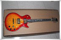 corpo Custom Shop cereja Sunburst vaso colorido Shell embutimento Guitarra elétrica com hardware de Ouro, corpo de ligação