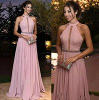 Dusty Rose Pink Evening Dresses for Prom Party Chiffon A Lin...