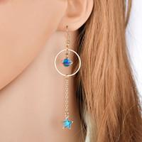 New Style-coreano Jóias Blue Moon Estrela longo brincos para mulheres Asymmetric Rodada Planeta Brincos Moda E2557