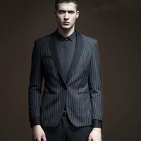 Nuevo Handsome One Button Black con tiras Boda Novio Esmoquin Muesca Solapa Padrino de boda Hombres Trajes Prom Chaqueta (Chaqueta + Pantalones + Corbata) 225