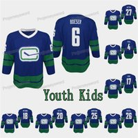 Niños para jóvenes Vancouver Canucks Brock Boeser Jersey Josh Teves Ryan Spooners Josh Leivo Jake Virtanen Loui Eriksson Alexander Edler Ben Hutton