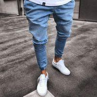 Мужские супер тощий светло-голубые джинсы модельер плиссированные панелями джинсовые бегунов мыть стрейч байкер карандаш брюки Брюки