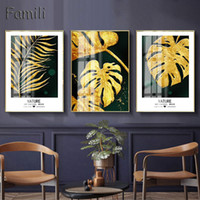 Wall Art Abstract Light and Luxurious Golden Leaves Picture Canvas Oil Painting Posters for Living Room Home Decorative Unframed