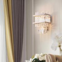 Новое прибытие американской кристалл стены лампы хром настенный светильник золото настенное крепление Светодиодные бра свет для кухни крыльцо прикроватной