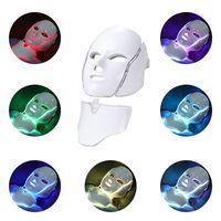 DHLフリー7色フェイシャルLEDマスクLEDフォトン療法フェイスマスクデバイス光療法の皮の若返り白く首の美しさPDT LEDマスク