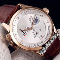 Новый Master Control World Geographic Q1502420 Розовое золото Серебряный циферблат Автоматические мужские часы Moon Phase Запас хода Кожаные часы Puretime 02