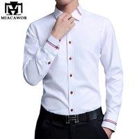 MIACAWOR рубашки платья мужчины мода Оксфорд рубашки с длинным рукавом Камиза masculina тонкий нужным camisa социальные свободного покроя рубашка Белый C274 CX200629