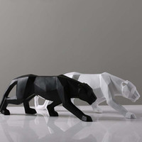 Creative Modern Abstract Black Panther Sculpture Geometric R...