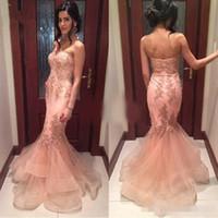 Blush Pink Lange Meerjungfrau Brautkleider Liebsten Ausschnitt Spitze Applique Tiered Rock Organza Bodenlangen 2019 Custom Made Abendkleid
